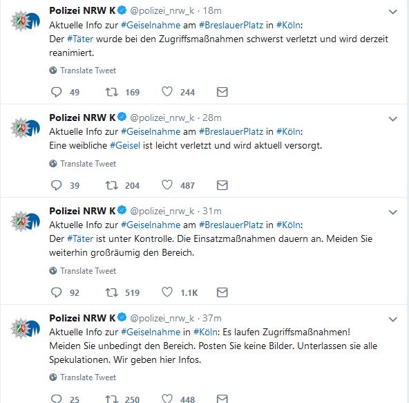 Освобождение заложника в Кёльне транслировалось местной полицией в «Twitter'е»