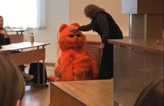 студент пришел на пары в костюме кота