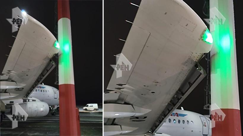 самолёт врезался в мачту освещения