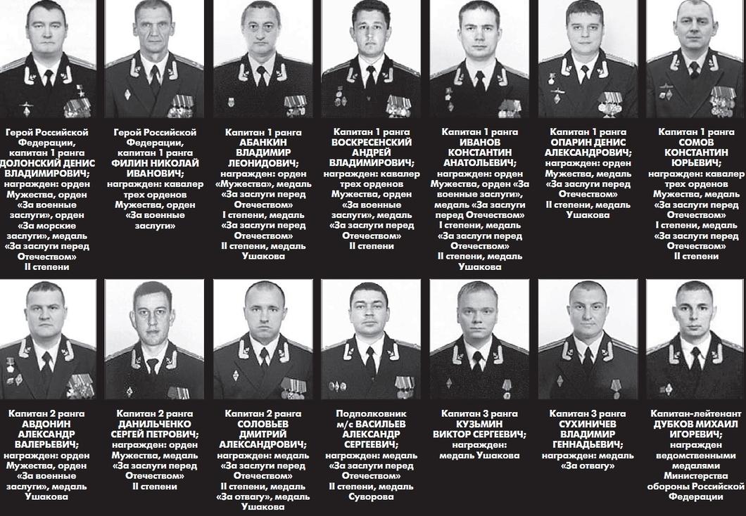 Четырем погибшим подводникам присвоены звания Героев России