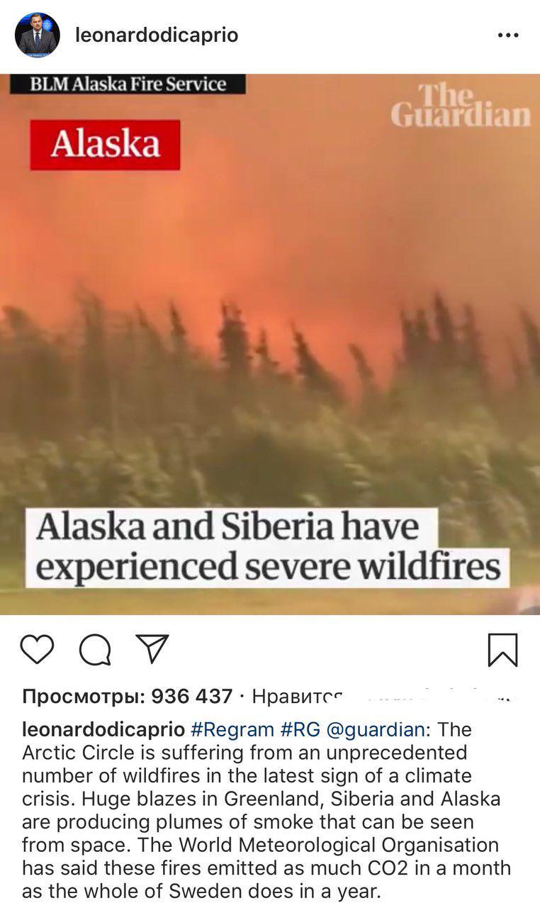 Леонардо ди Каприо о лесных пожарах в Красноярске
