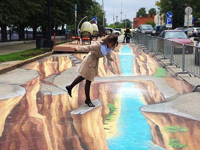 Набережную Перми украсило 3D-изображение на асфальте