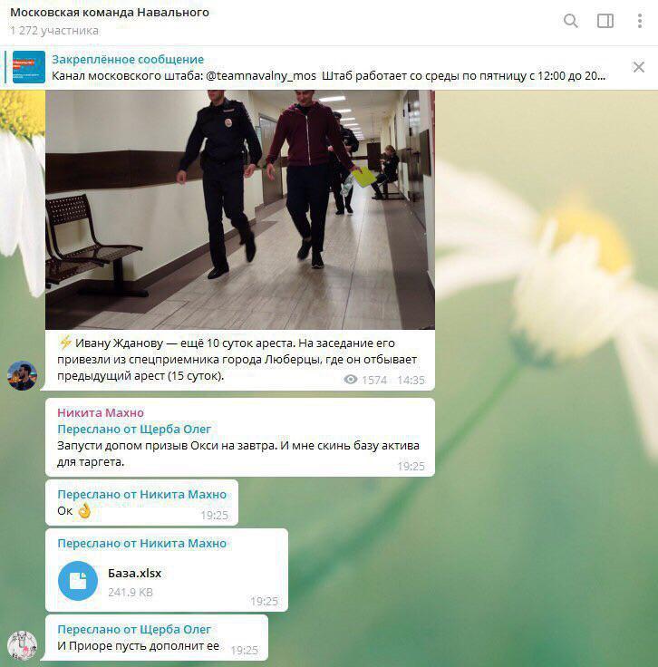 Сотрудники штаба Навального сами выложили в общий чат базу данных сторонников