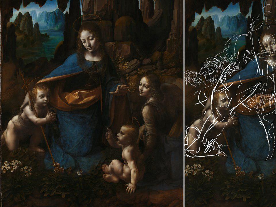 На картине Леонардо да Винчи Мадонна в скалах найдены эскизы и отпечатки мастера