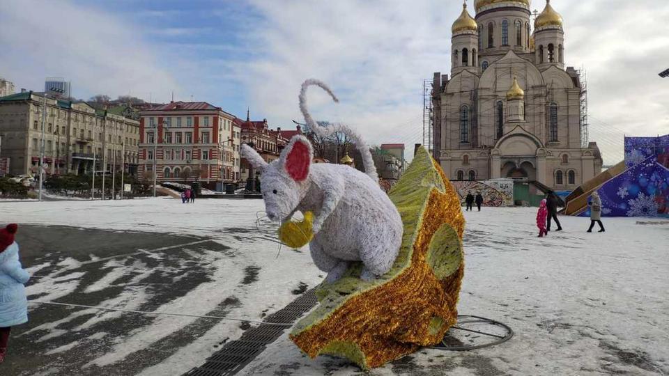 Жители Владивостока перепутали Новый год с Масленицей и сожгли фигуру мыши в центре города
