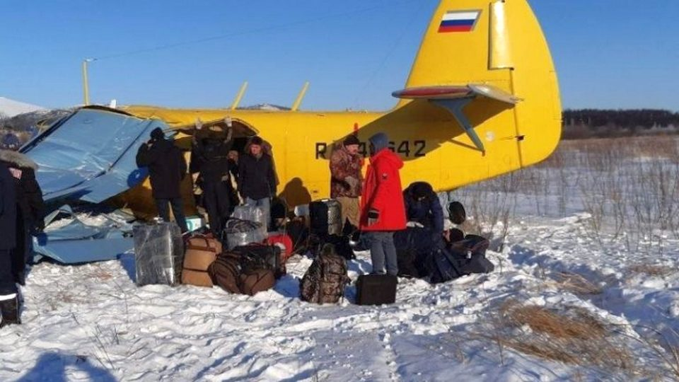 СК РФ опубликовал видео с места жесткой посадки самолета в Магадане