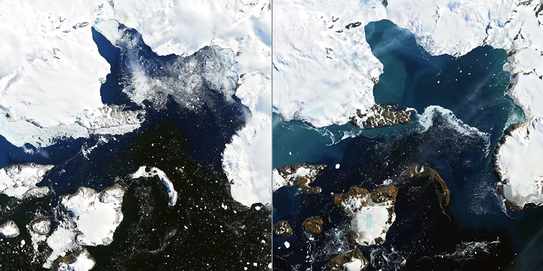 Фотографии тающих ледников в Антарктиде опубликовали эксперты NASA