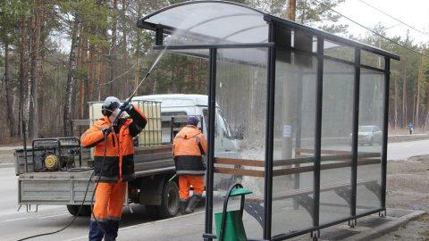 В Каменске-Уральском продезинфицировали автобусные остановки