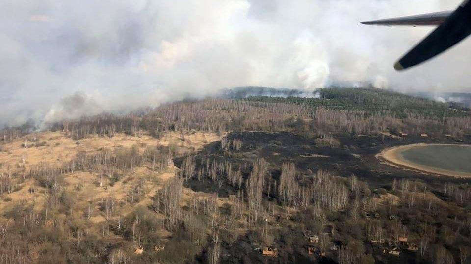 Лес горит в Чернобыльской зоне отчуждения