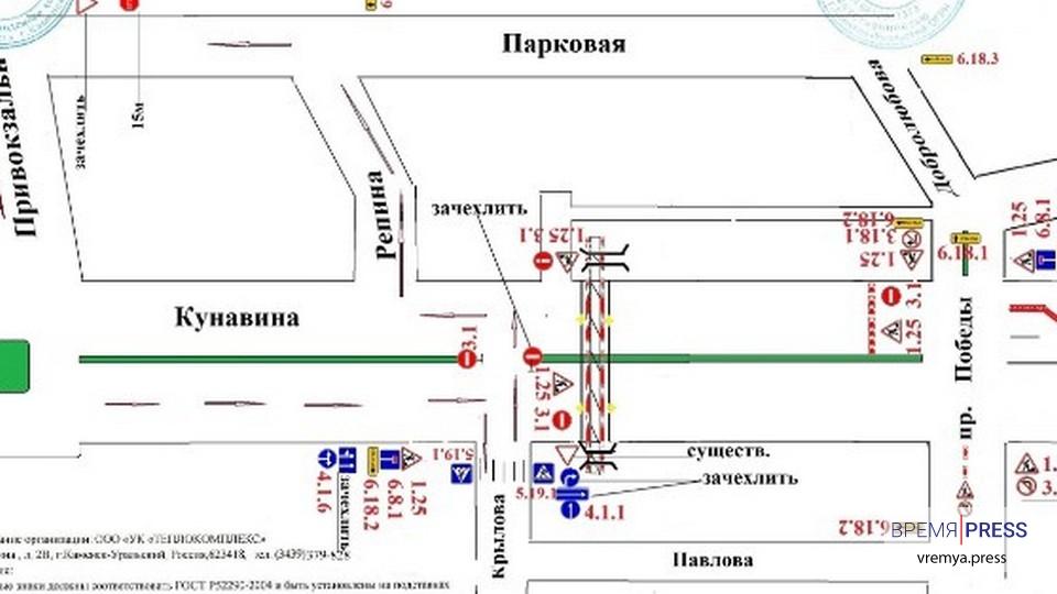 Движение по улице Кунавина ограничат из-за ремонта теплотрассы