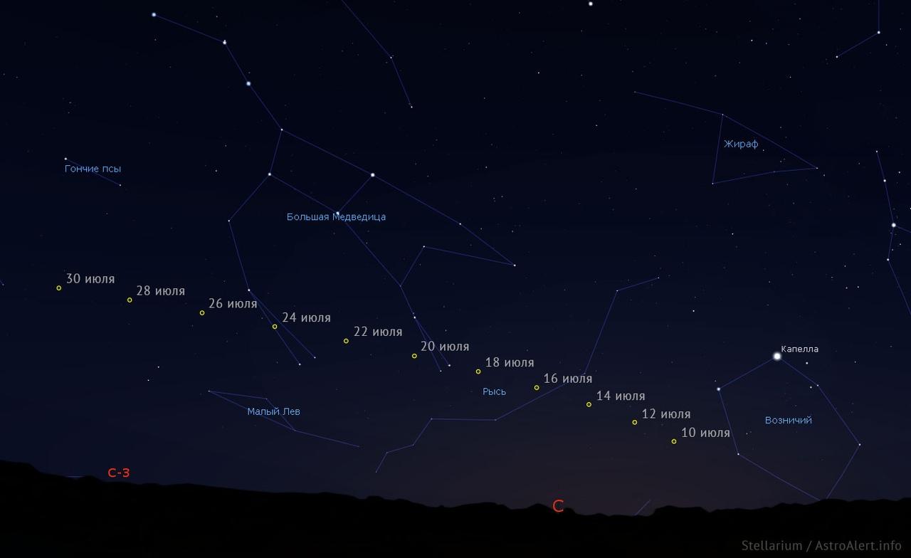 С 10 июля комету C/2020 F3 (NEOWISE) можно будет увидеть на территории России