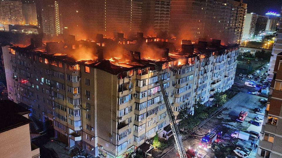 Бастрыкин поручил начать проверку из-за крупного пожара в жилом доме Краснодара