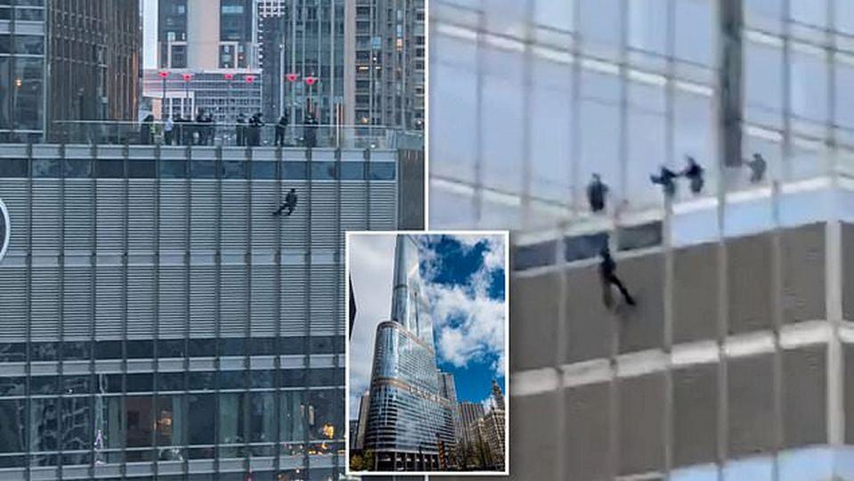 Житель Чикаго свесился на веревке с башни Трампа, чтобы пообщаться с президентом