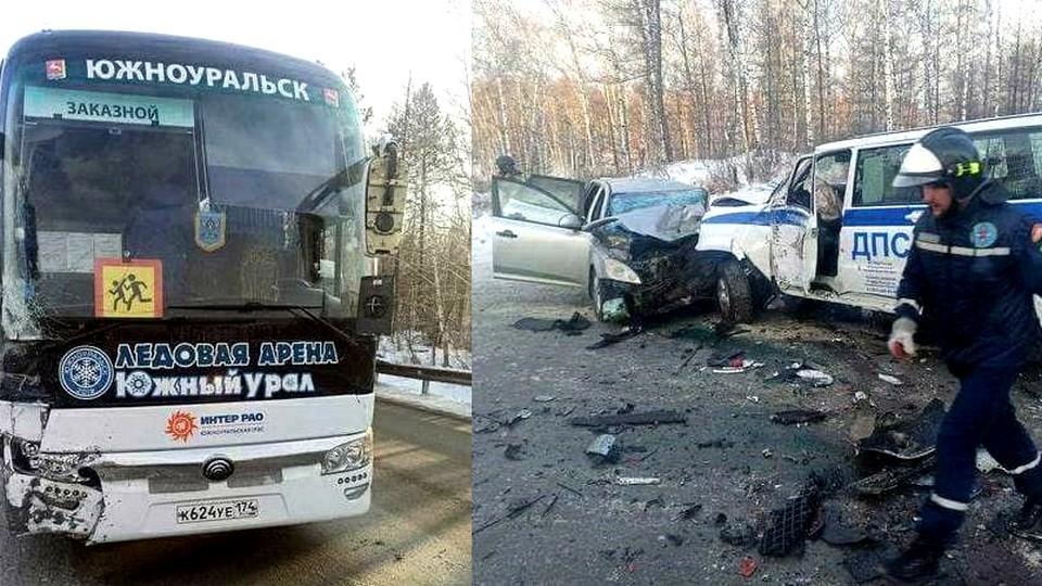 Челябинские полицейские в ДТП закрыли от удара автобус с детской хоккейной командой