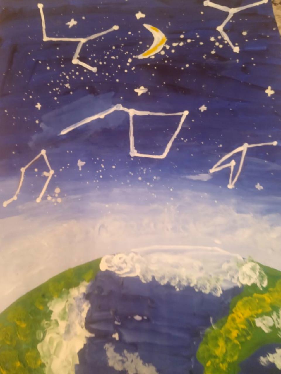 Порция позитива от юной художницы-самоучки из Каменска-Уральского. Картина из заголовка. Именно так должна выгладить планета Маленького Принца по мнению Леры.