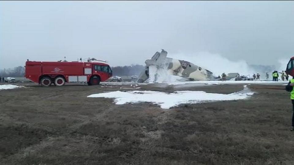 В Казахстане упал военный самолёт