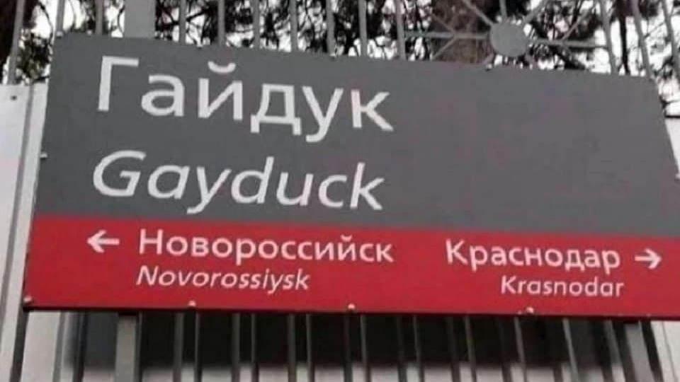 Железнодорожную станцию Gayduck в Краснодарском крае переименуют