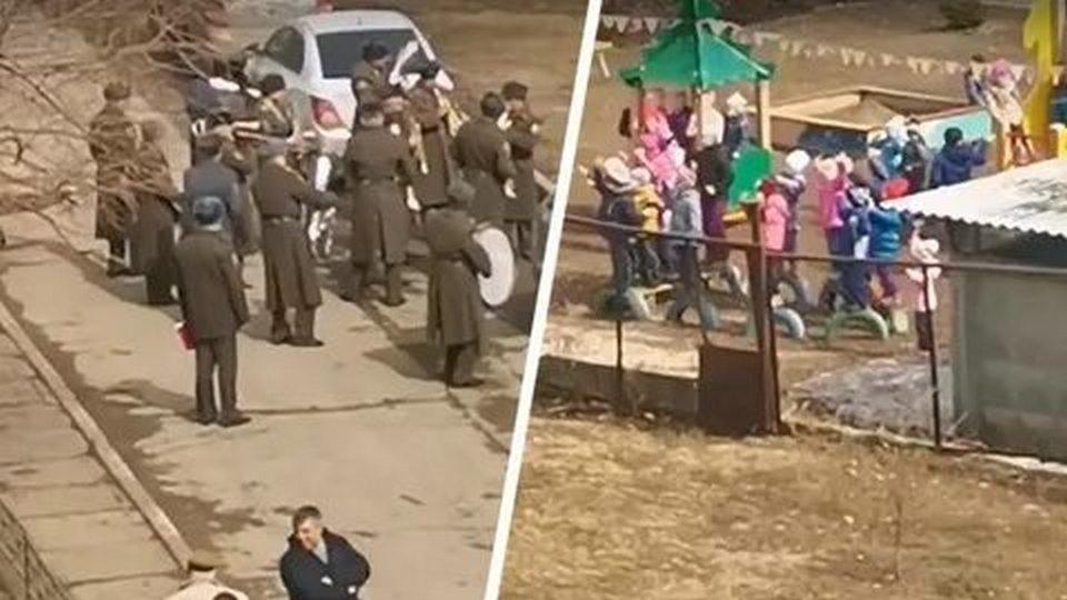 В Тольятти военный оркестр не устоял перед овациями дошколят и сыграл для них