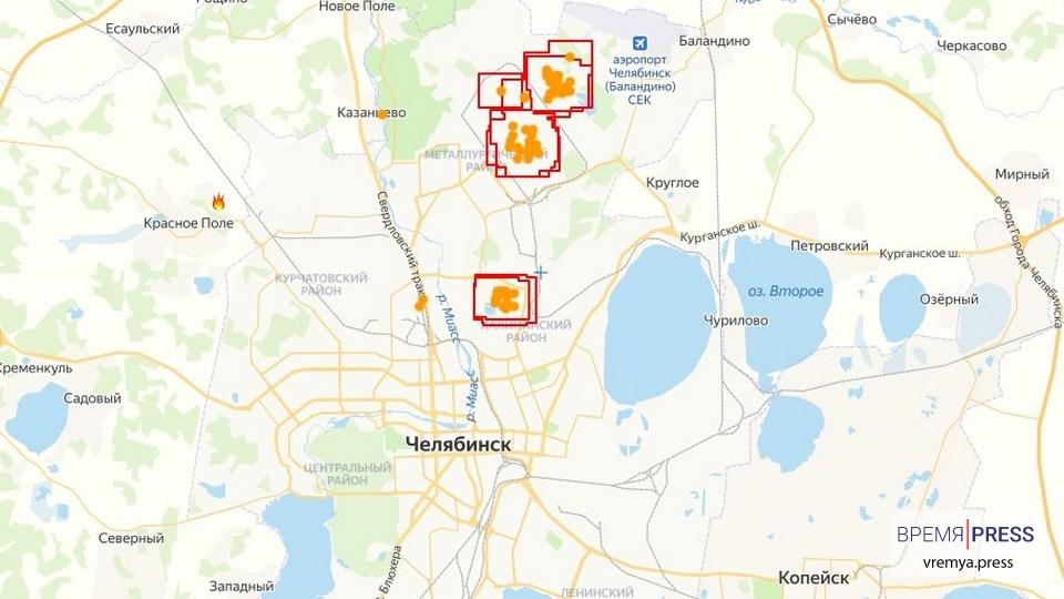 Опубликована карта лесных пожаров на границе со Свердловской областью