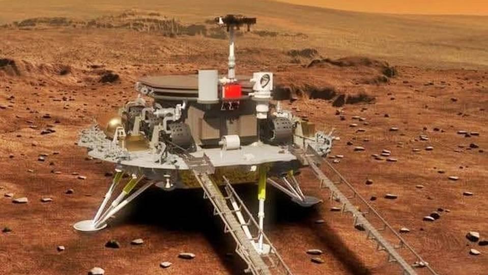 Китай показал, как аппарат с зондом приземлился на Марс