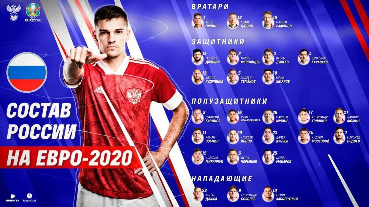 Стал известен состав сборной России по футболу на Евро-2020